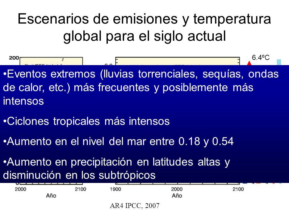 Escenarios de emisiones y temperatura global para el siglo actual AR4 IPCC, 2007 6.4ºC 1.8ºC Eventos extremos (lluvias torrenciales, sequías, ondas de