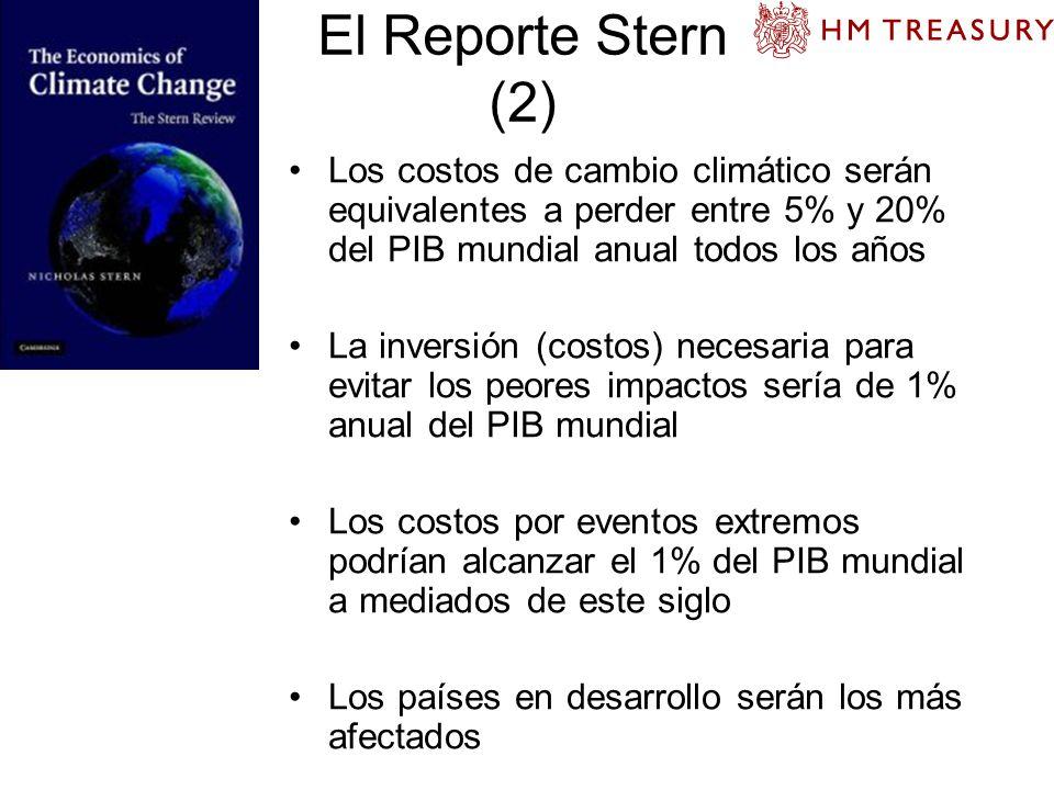 El Reporte Stern (2) Los costos de cambio climático serán equivalentes a perder entre 5% y 20% del PIB mundial anual todos los años La inversión (cost