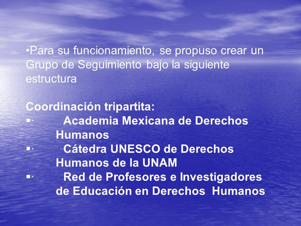 Para su funcionamiento, se propuso crear un Grupo de Seguimiento bajo la siguiente estructura Coordinación tripartita: · Academia Mexicana de Derechos Humanos · Cátedra UNESCO de Derechos Humanos de la UNAM · Red de Profesores e Investigadores de Educación en Derechos Humanos