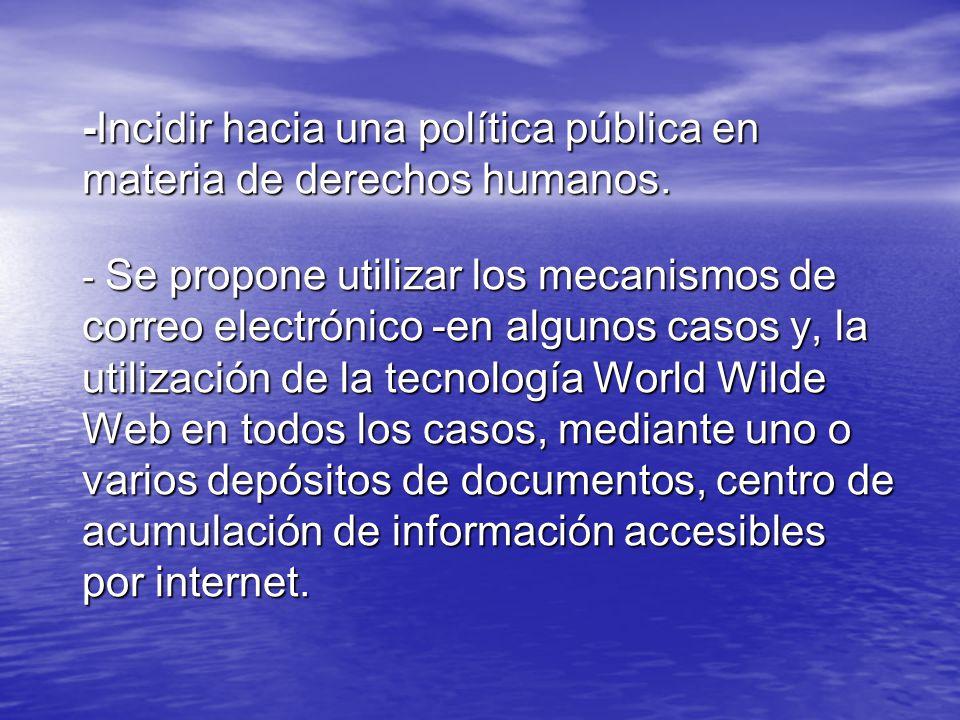 -Incidir hacia una política pública en materia de derechos humanos.