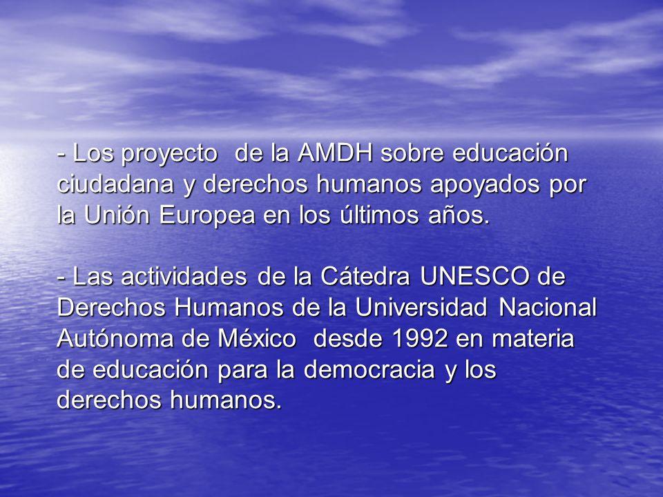 - Los proyecto de la AMDH sobre educación ciudadana y derechos humanos apoyados por la Unión Europea en los últimos años.