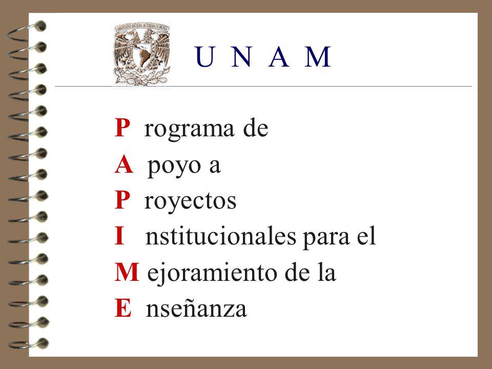 U N A M P rograma de A poyo a P royectos I nstitucionales para el M ejoramiento de la E nseñanza