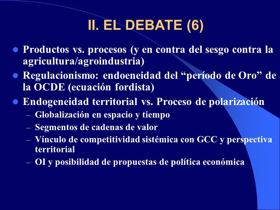 II. EL DEBATE (6) Productos vs. procesos (y en contra del sesgo contra la agricultura/agroindustria) Regulacionismo: endoeneidad del período de Oro de