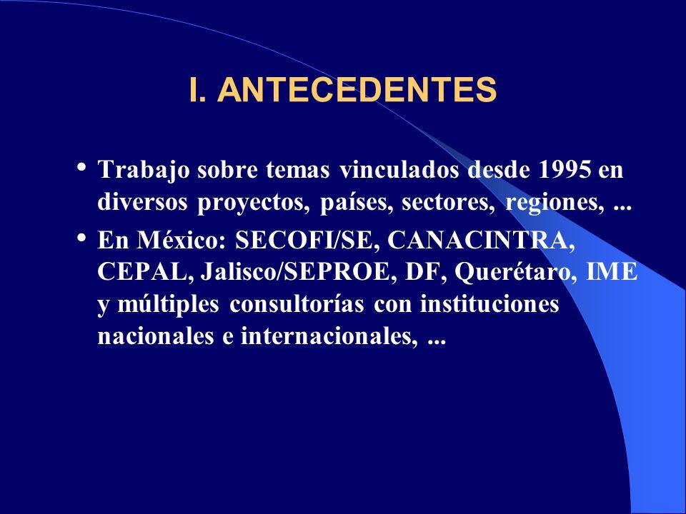 I. ANTECEDENTES Trabajo sobre temas vinculados desde 1995 en diversos proyectos, países, sectores, regiones,... En México: SECOFI/SE, CANACINTRA, CEPA