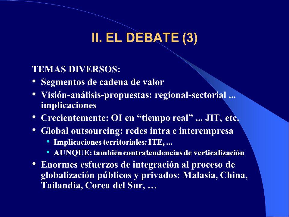 II. EL DEBATE (3) TEMAS DIVERSOS: Segmentos de cadena de valor Visión-análisis-propuestas: regional-sectorial... implicaciones Crecientemente: OI en t