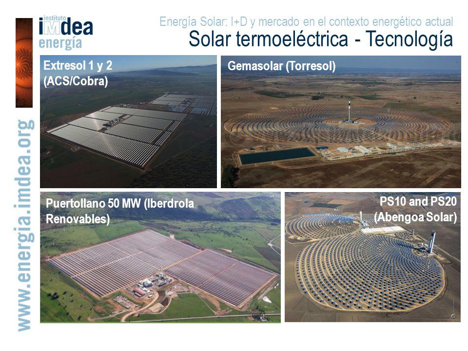 Extresol 1 y 2 (ACS/Cobra) PS10 and PS20 (Abengoa Solar) Puertollano 50 MW (Iberdrola Renovables) Gemasolar (Torresol) Energía Solar: I+D y mercado en