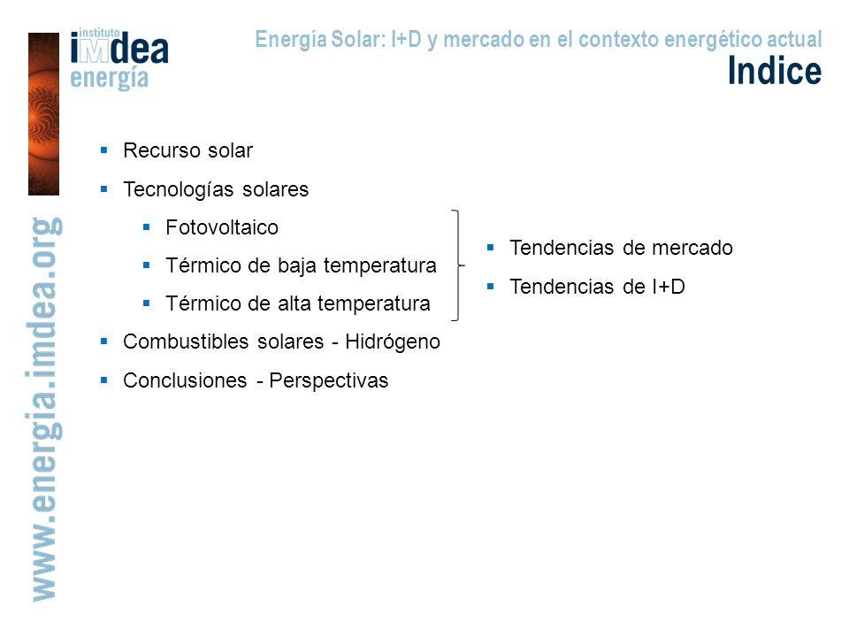 Energía Solar: I+D y mercado en el contexto energético actual Indice Recurso solar Tecnologías solares Fotovoltaico Térmico de baja temperatura Térmico de alta temperatura Combustibles solares - Hidrógeno Conclusiones - Perspectivas Tendencias de mercado Tendencias de I+D