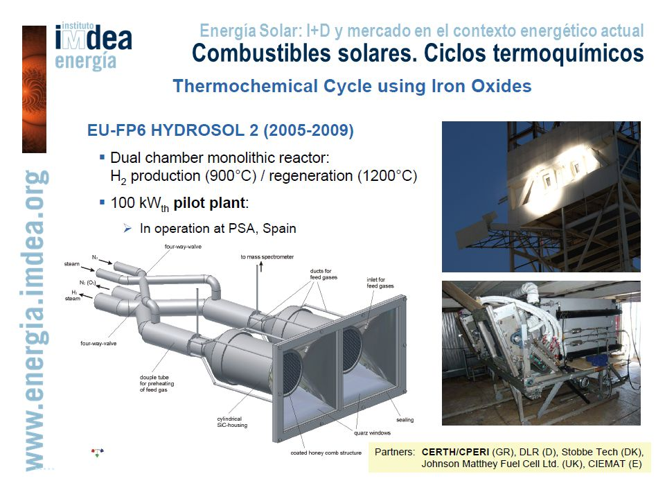 Energía Solar: I+D y mercado en el contexto energético actual Combustibles solares. Ciclos termoquímicos