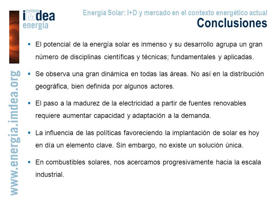 Energía Solar: I+D y mercado en el contexto energético actual Conclusiones El potencial de la energía solar es inmenso y su desarrollo agrupa un gran número de disciplinas científicas y técnicas; fundamentales y aplicadas.