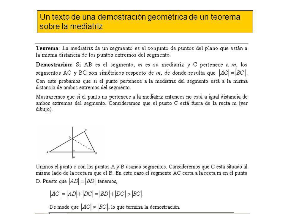 Un texto de una demostración geométrica de un teorema sobre la mediatriz