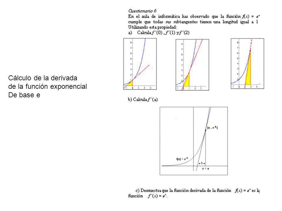 Cálculo de la derivada de la función exponencial De base e