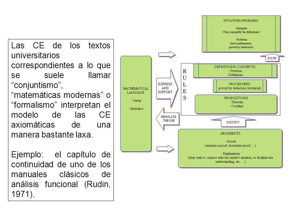 Las CE de los textos universitarios correspondientes a lo que se suele llamar conjuntismo, matemáticas modernas o formalismo interpretan el modelo de las CE axiomáticas de una manera bastante laxa.