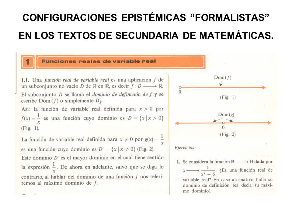 CONFIGURACIONES EPISTÉMICAS FORMALISTAS EN LOS TEXTOS DE SECUNDARIA DE MATEMÁTICAS.