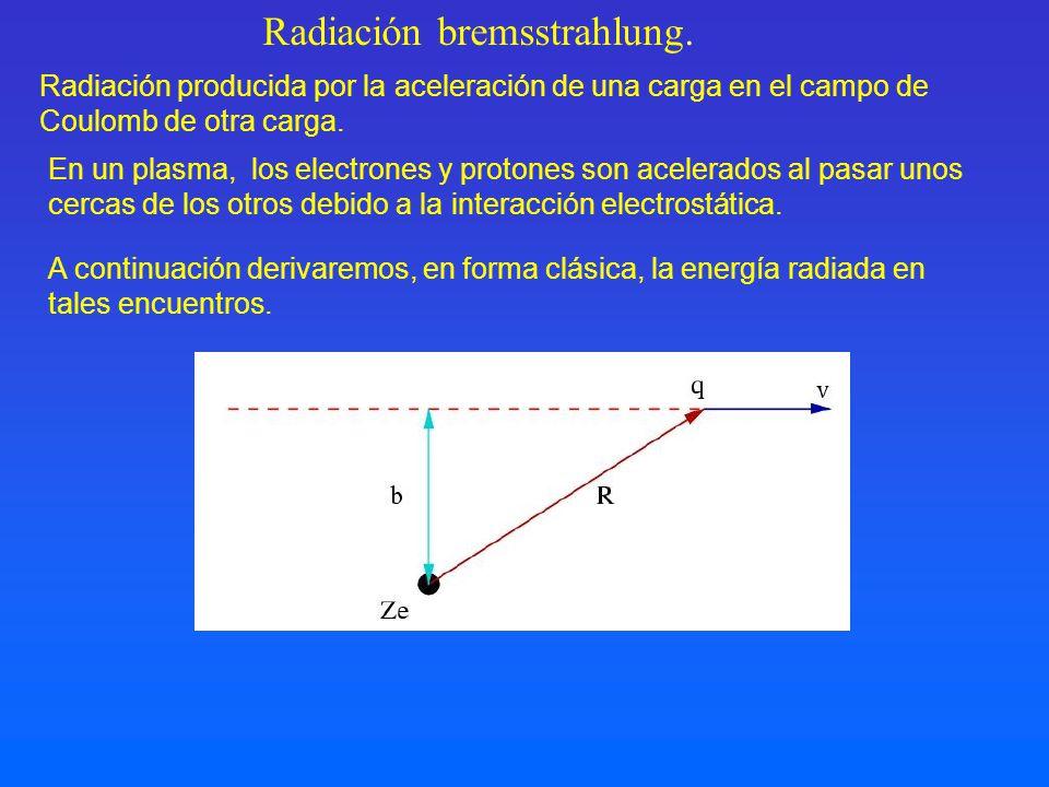 Radiación producida por la aceleración de una carga en el campo de Coulomb de otra carga. Radiación bremsstrahlung. A continuación derivaremos, en for