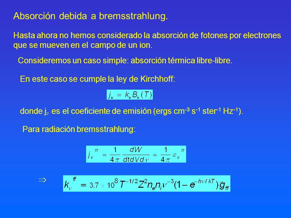 Absorción debida a bremsstrahlung. donde j es el coeficiente de emisión (ergs cm -3 s -1 ster -1 Hz -1 ). Hasta ahora no hemos considerado la absorció
