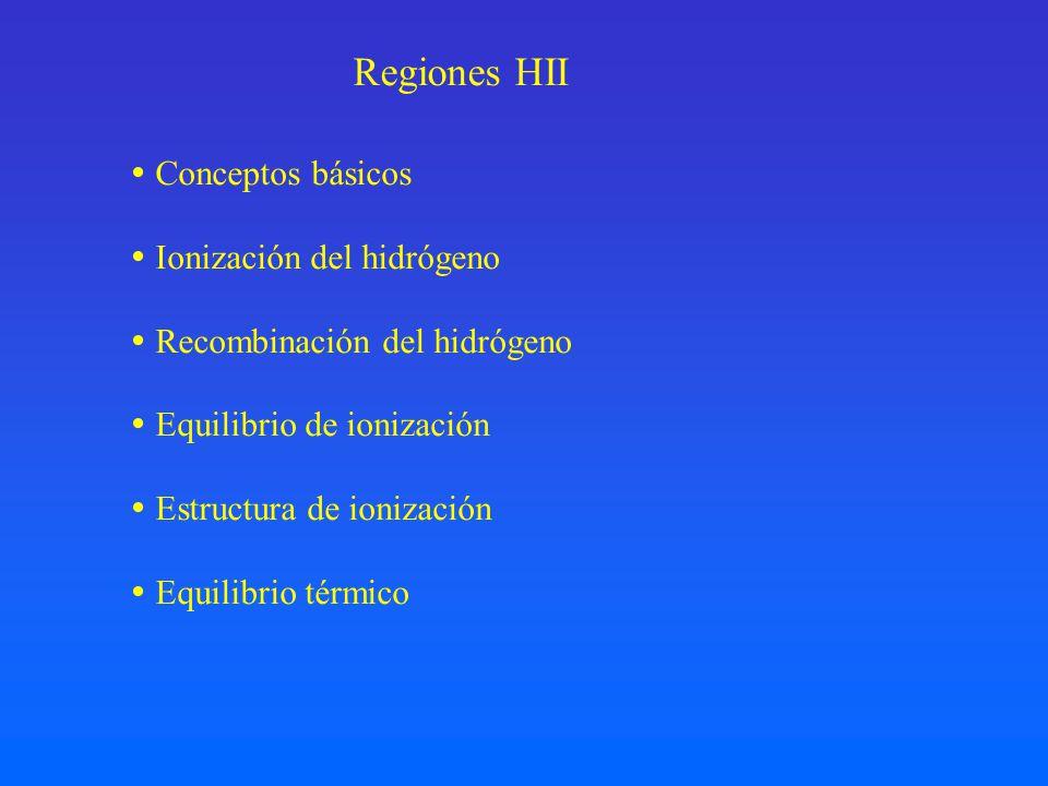 Regiones HII Conceptos básicos Ionización del hidrógeno Recombinación del hidrógeno Equilibrio de ionización Estructura de ionización Equilibrio térmi