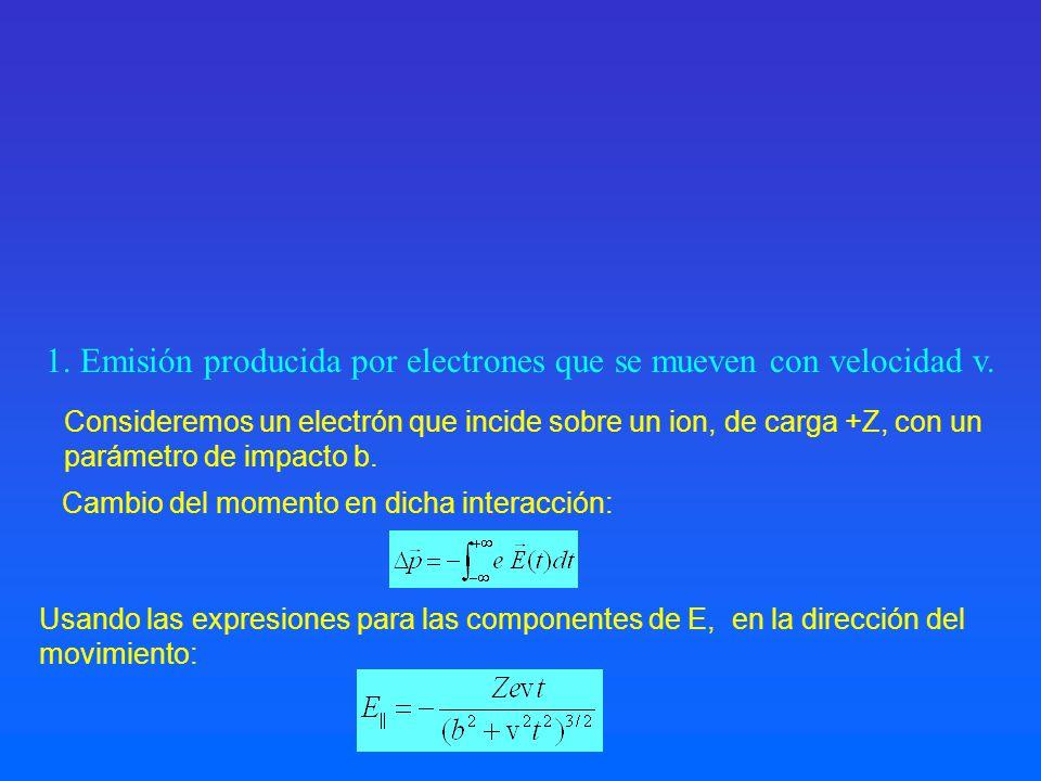 1. Emisión producida por electrones que se mueven con velocidad v. Usando las expresiones para las componentes de E, en la dirección del movimiento: C