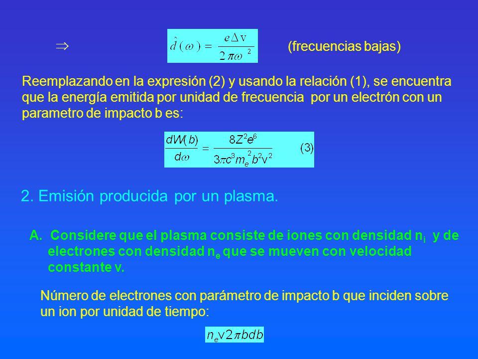 número de encuentros por unidad de tiempo y unidad de volumen entre los iones y electrones con parámetro de impacto b: La energía total emitida en todos los encuentros por unidad de tiempo, de volumen y de frecuencia es: Usando la relación (3)