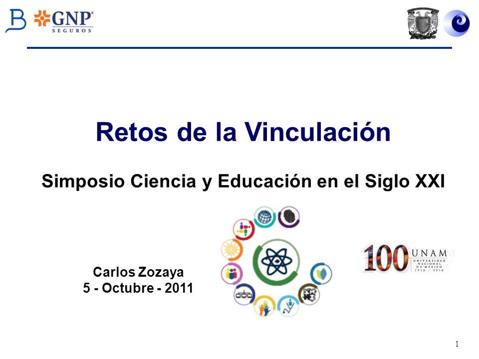 1 Carlos Zozaya 5 - Octubre - 2011 Retos de la Vinculación Simposio Ciencia y Educación en el Siglo XXI