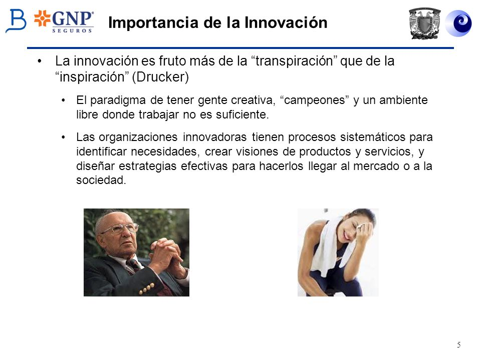 5 Importancia de la Innovación La innovación es fruto más de la transpiración que de la inspiración (Drucker) El paradigma de tener gente creativa, ca