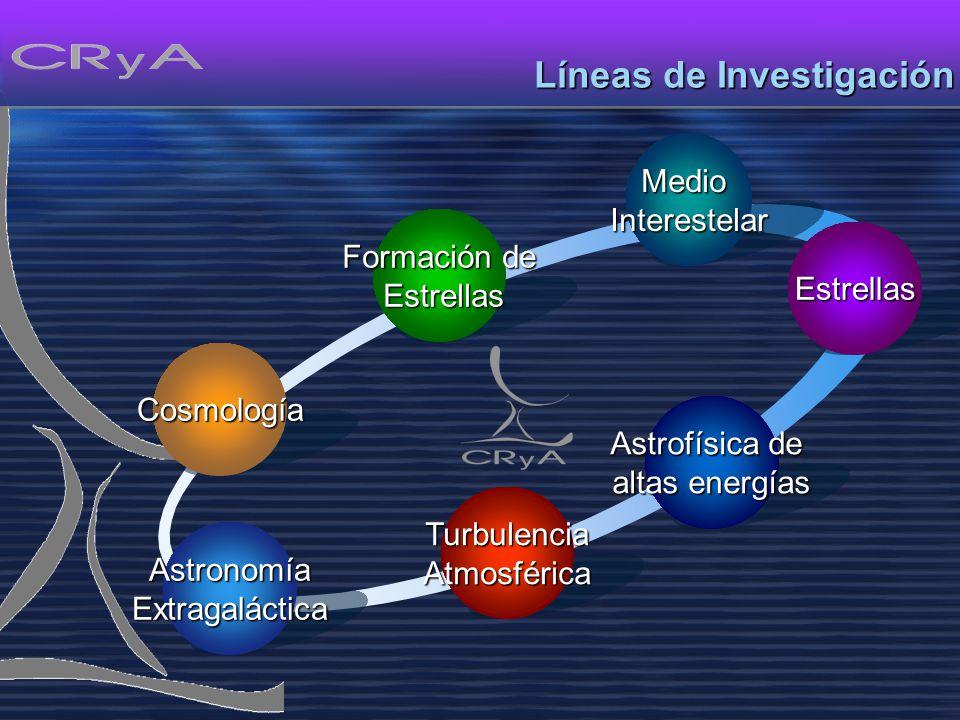 Formación de Estrellas Estrellas Cosmología AstronomíaExtragalácticaEstrellasMedioInterestelar Líneas de Investigación TurbulenciaAtmosférica Astrofísica de altas energías