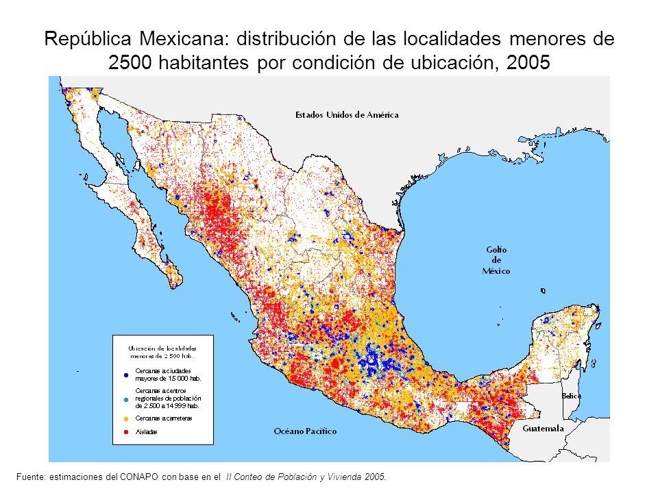 Fuente: estimaciones del CONAPO con base en el II Conteo de Población y Vivienda 2005. República Mexicana: distribución de las localidades menores de