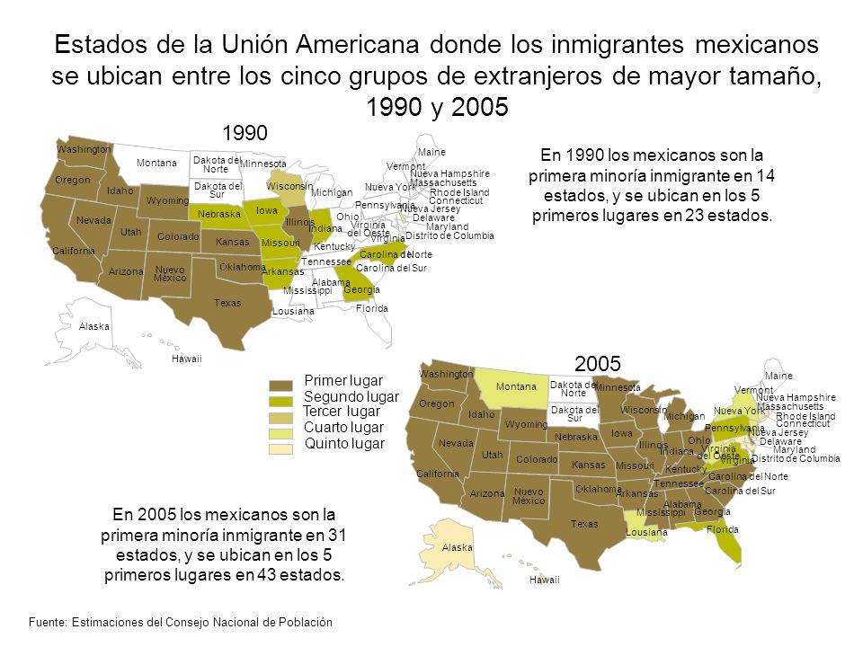 Estados de la Unión Americana donde los inmigrantes mexicanos se ubican entre los cinco grupos de extranjeros de mayor tamaño, 1990 y 2005 Fuente: Est