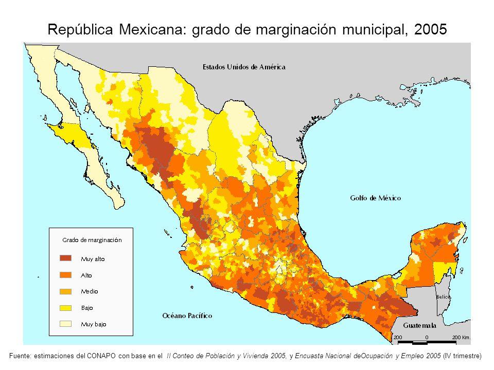 República Mexicana: grado de marginación municipal, 2005 Fuente: estimaciones del CONAPO con base en el II Conteo de Población y Vivienda 2005, y Encu