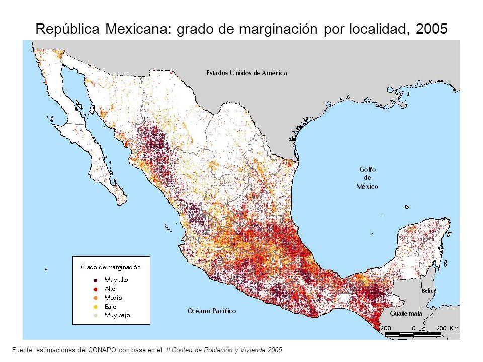 República Mexicana: grado de marginación por localidad, 2005 Fuente: estimaciones del CONAPO con base en el II Conteo de Población y Vivienda 2005