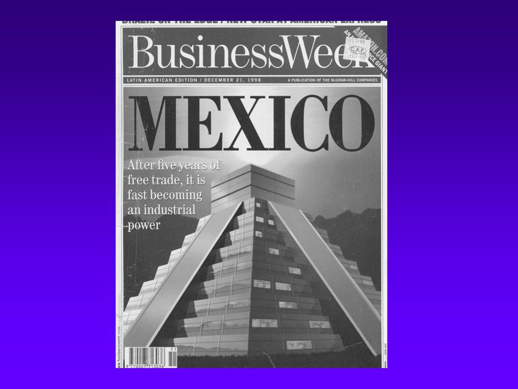 Visión de la revista Business Week sobre la economía mexicana a finales de 1998 Manufactura: México se está transformando en un gigante industrial; productos manufactureros integran el 80% de las exportaciones, expandiendo nuevos empleos Inversiones: El acceso al enorme mercado norte americano atrae a empresas asiáticas y europeos invertir miles de millones en auto partes, electrónica y textiles.