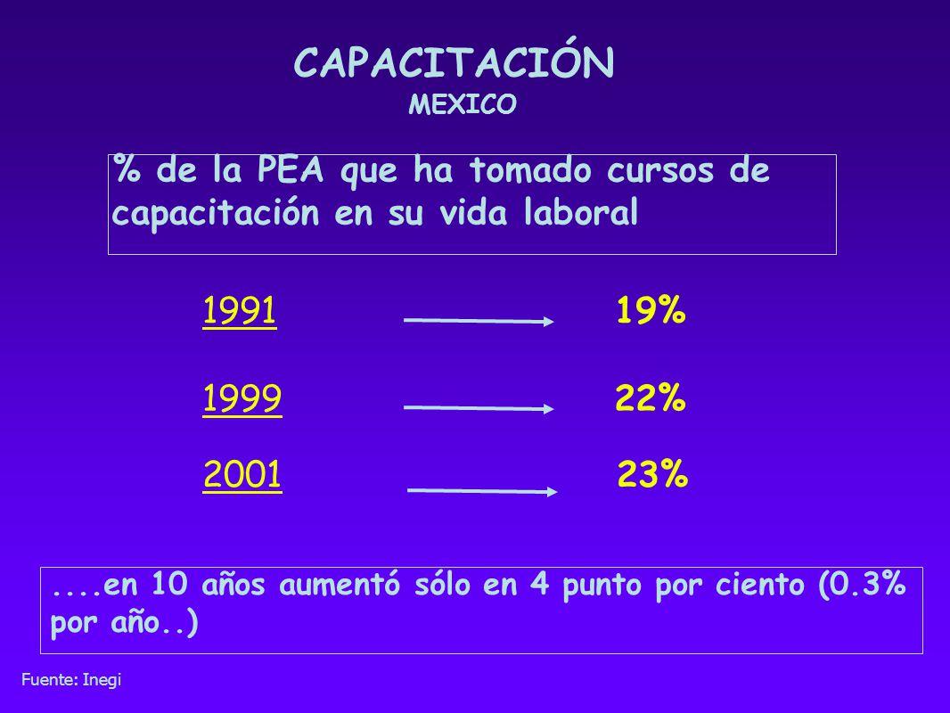 CAPACITACIÓN MEXICO % de la PEA que ha tomado cursos de capacitación en su vida laboral 199922% 199119%....en 10 años aumentó sólo en 4 punto por cien