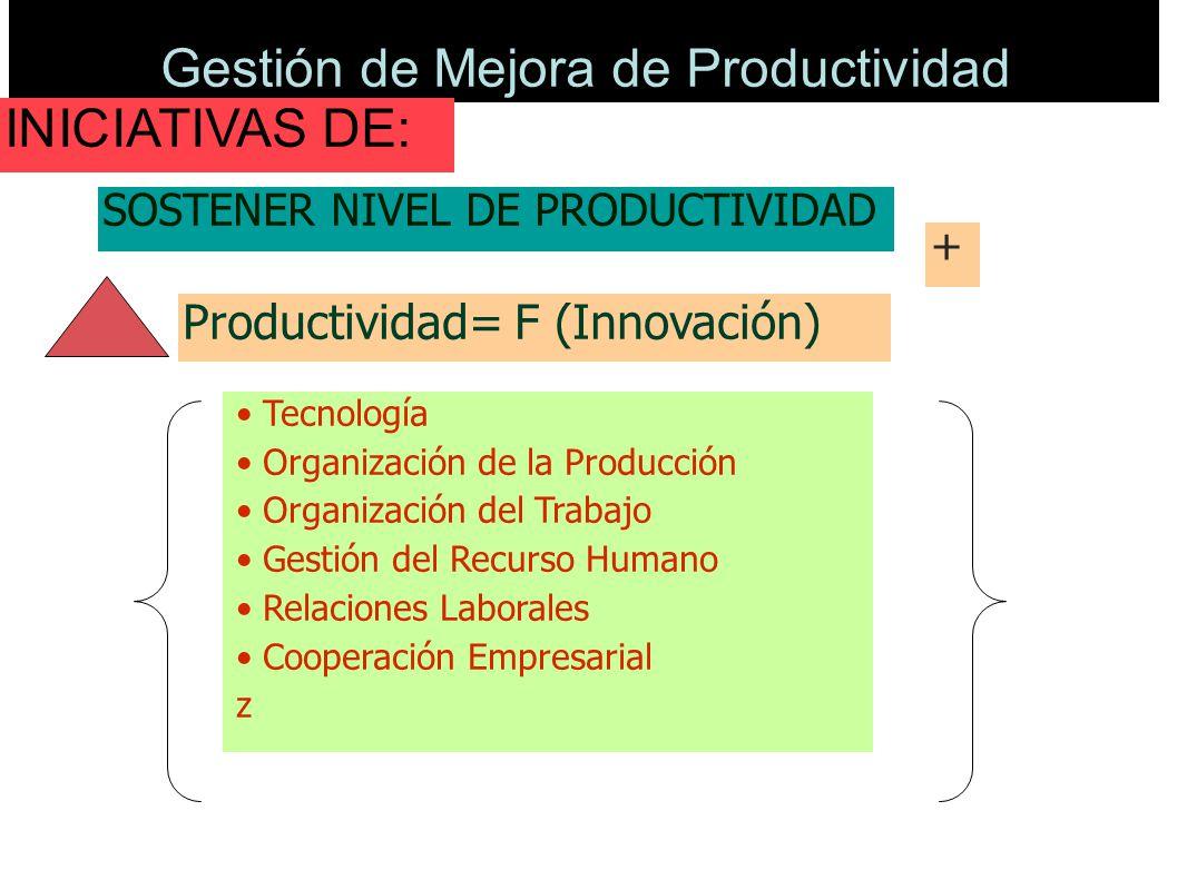 Gestión de Mejora de Productividad Productividad= F (Innovación) Tecnología Organización de la Producción Organización del Trabajo Gestión del Recurso