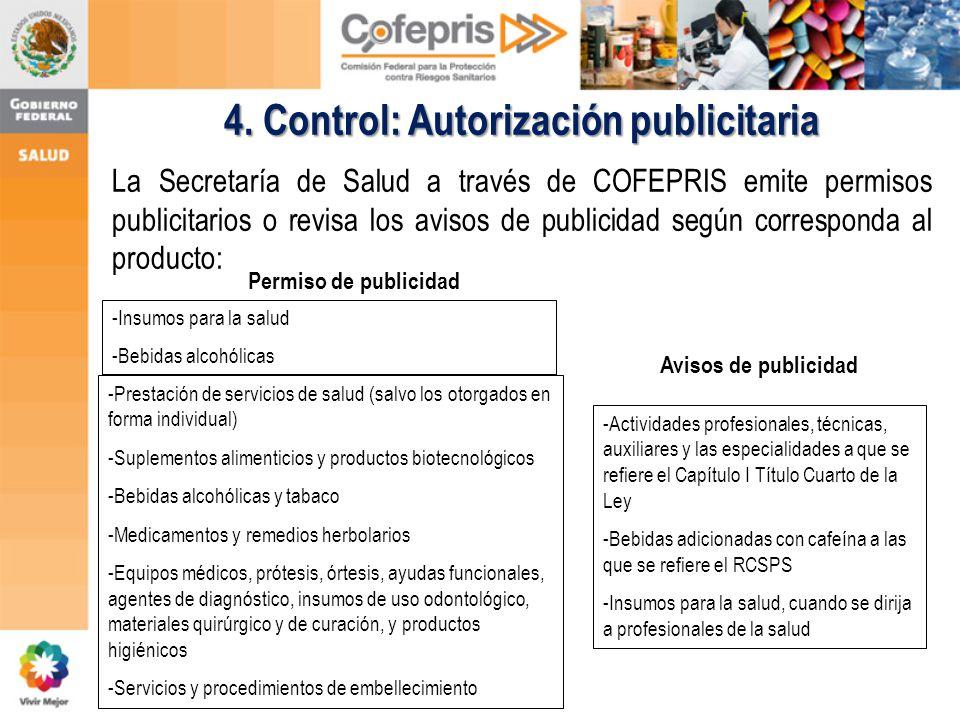 La Secretaría de Salud a través de COFEPRIS emite permisos publicitarios o revisa los avisos de publicidad según corresponda al producto: 4. Control: