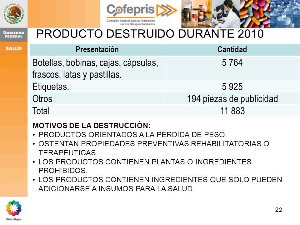 22 PRODUCTO DESTRUIDO DURANTE 2010 PresentaciónCantidad Botellas, bobinas, cajas, cápsulas, frascos, latas y pastillas. 5 764 Etiquetas. 5 925 Otros19