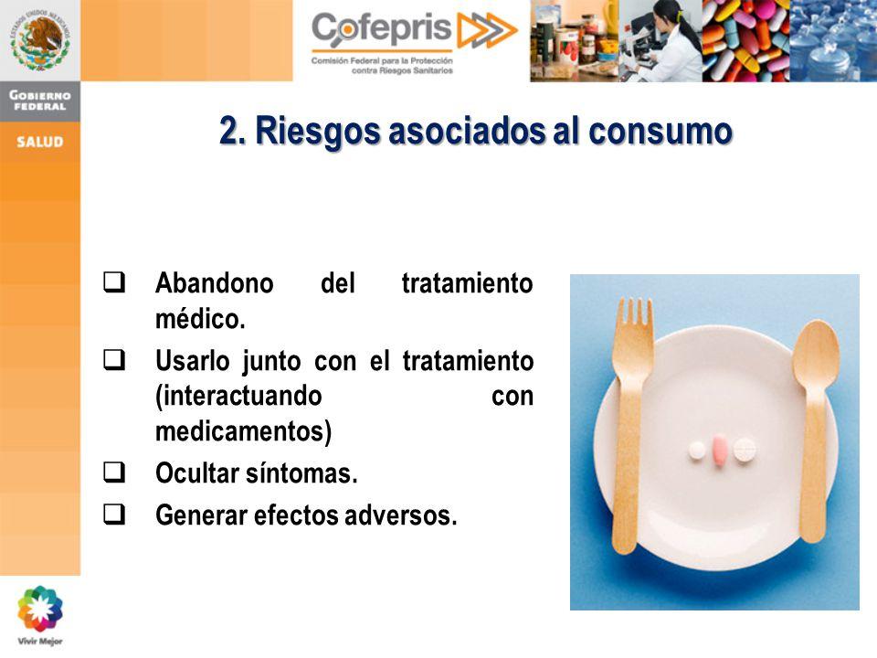 2. Riesgos asociados al consumo Abandono del tratamiento médico. Usarlo junto con el tratamiento (interactuando con medicamentos) Ocultar síntomas. Ge