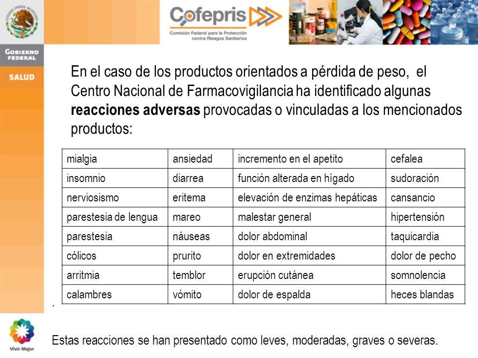 En el caso de los productos orientados a pérdida de peso, el Centro Nacional de Farmacovigilancia ha identificado algunas reacciones adversas provocadas o vinculadas a los mencionados productos:.