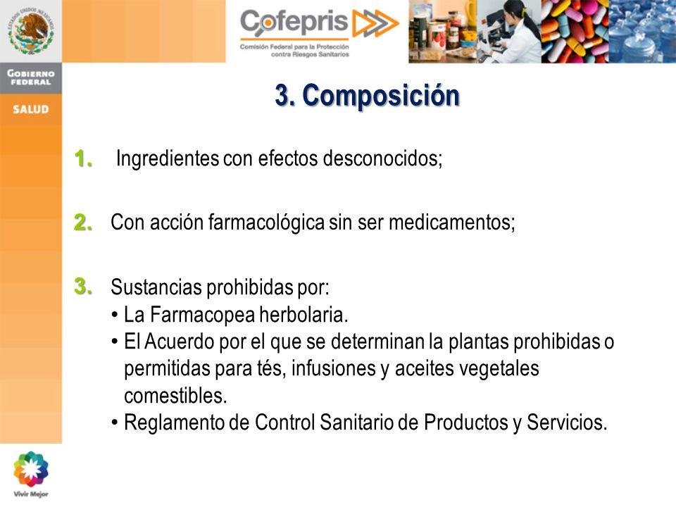 3. Composición 1. Ingredientes con efectos desconocidos; Con acción farmacológica sin ser medicamentos; Sustancias prohibidas por: La Farmacopea herbo