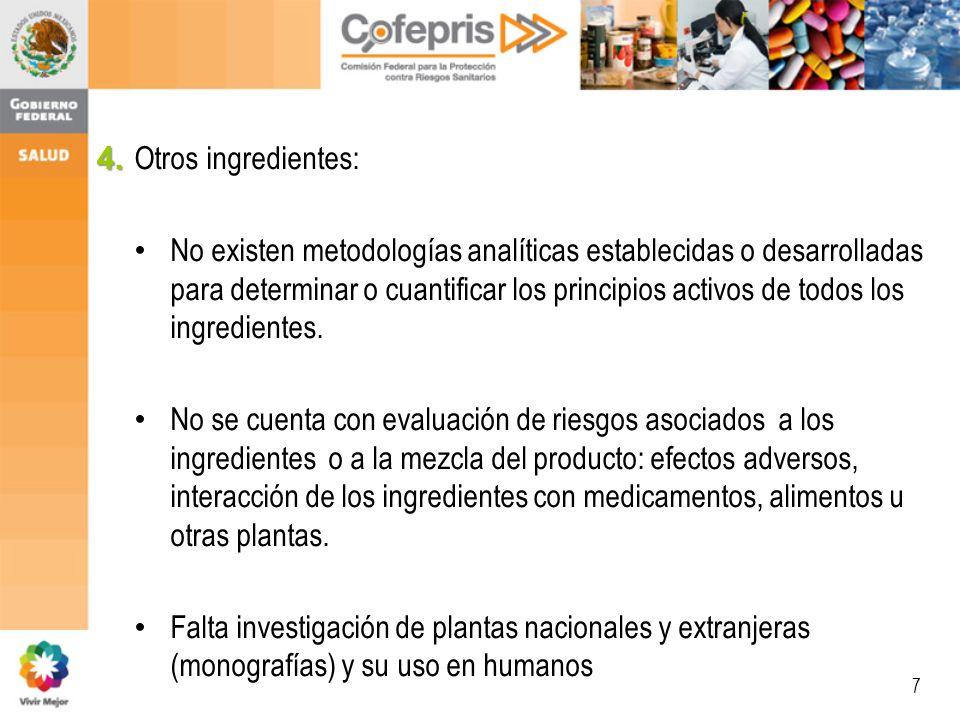 7 Otros ingredientes: No existen metodologías analíticas establecidas o desarrolladas para determinar o cuantificar los principios activos de todos los ingredientes.