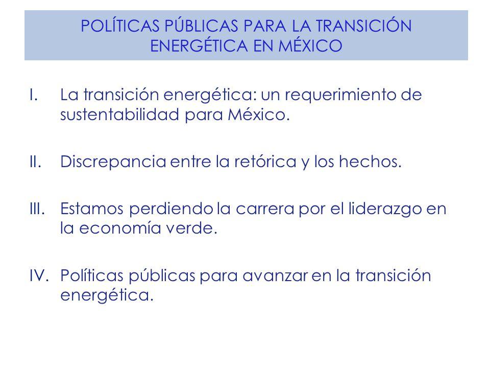 POLÍTICAS PÚBLICAS PARA LA TRANSICIÓN ENERGÉTICA EN MÉXICO I.La transición energética: un requerimiento de sustentabilidad para México. II.Discrepanci