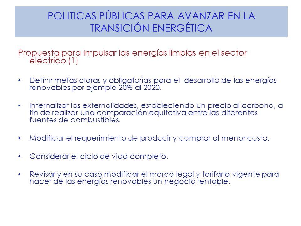 POLITICAS PÚBLICAS PARA AVANZAR EN LA TRANSICIÓN ENERGÉTICA Propuesta para impulsar las energías limpias en el sector eléctrico (1) Definir metas clar