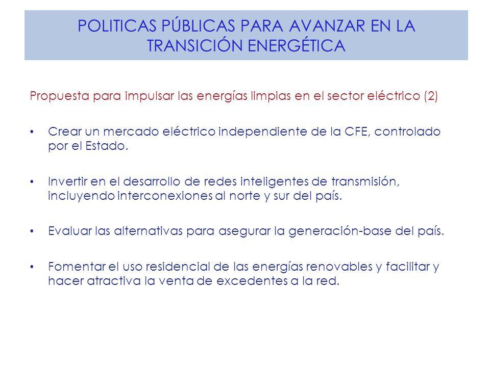 POLITICAS PÚBLICAS PARA AVANZAR EN LA TRANSICIÓN ENERGÉTICA Propuesta para impulsar las energías limpias en el sector eléctrico (2) Crear un mercado eléctrico independiente de la CFE, controlado por el Estado.