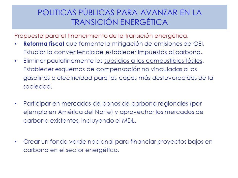 POLITICAS PÚBLICAS PARA AVANZAR EN LA TRANSICIÓN ENERGÉTICA Propuesta para el financimiento de la transición energética.