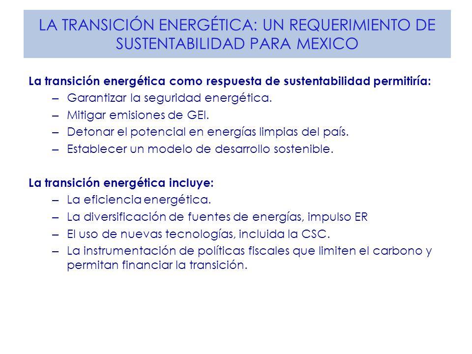 LA TRANSICIÓN ENERGÉTICA: UN REQUERIMIENTO DE SUSTENTABILIDAD PARA MEXICO La transición energética como respuesta de sustentabilidad permitiría: – Garantizar la seguridad energética.