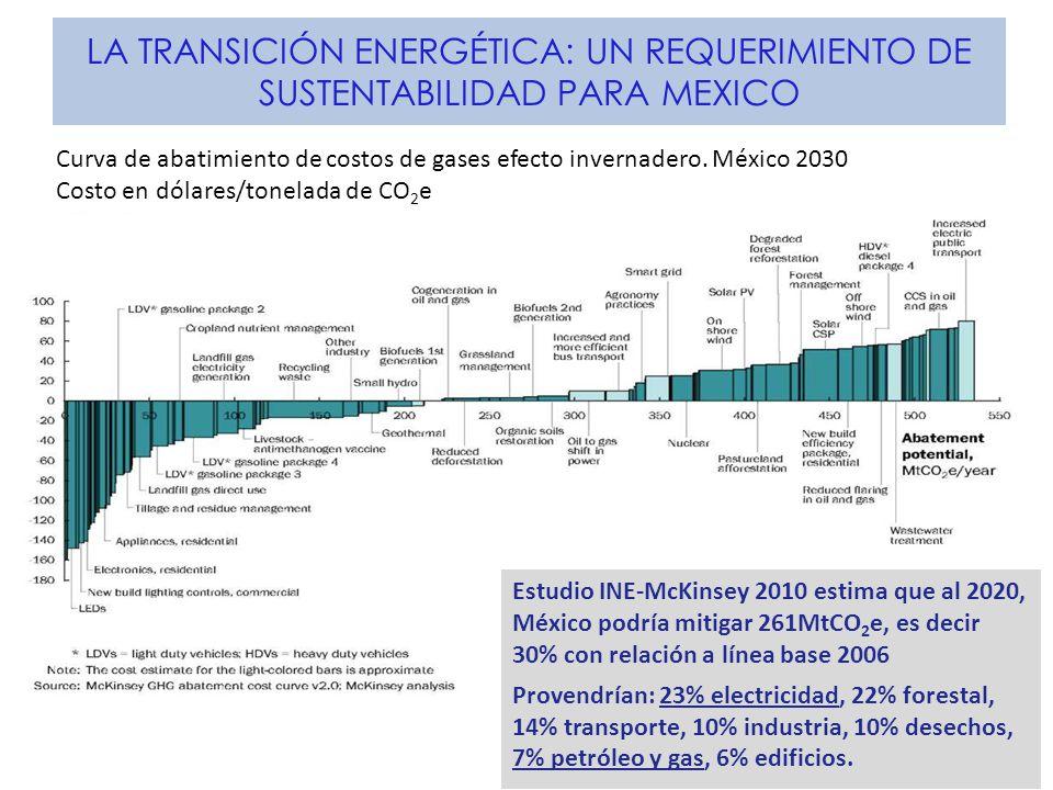 LA TRANSICIÓN ENERGÉTICA: UN REQUERIMIENTO DE SUSTENTABILIDAD PARA MEXICO Estudio INE-McKinsey 2010 estima que al 2020, México podría mitigar 261MtCO 2 e, es decir 30% con relación a línea base 2006 Provendrían: 23% electricidad, 22% forestal, 14% transporte, 10% industria, 10% desechos, 7% petróleo y gas, 6% edificios.