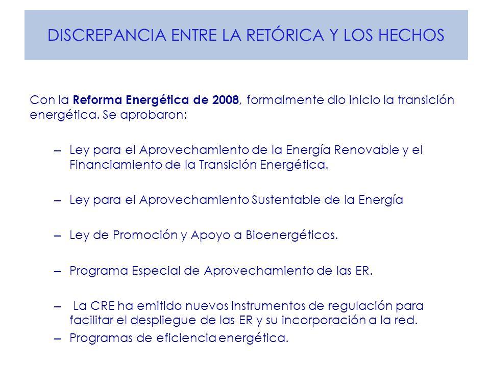 DISCREPANCIA ENTRE LA RETÓRICA Y LOS HECHOS Con la Reforma Energética de 2008, formalmente dio inicio la transición energética. Se aprobaron: – Ley pa