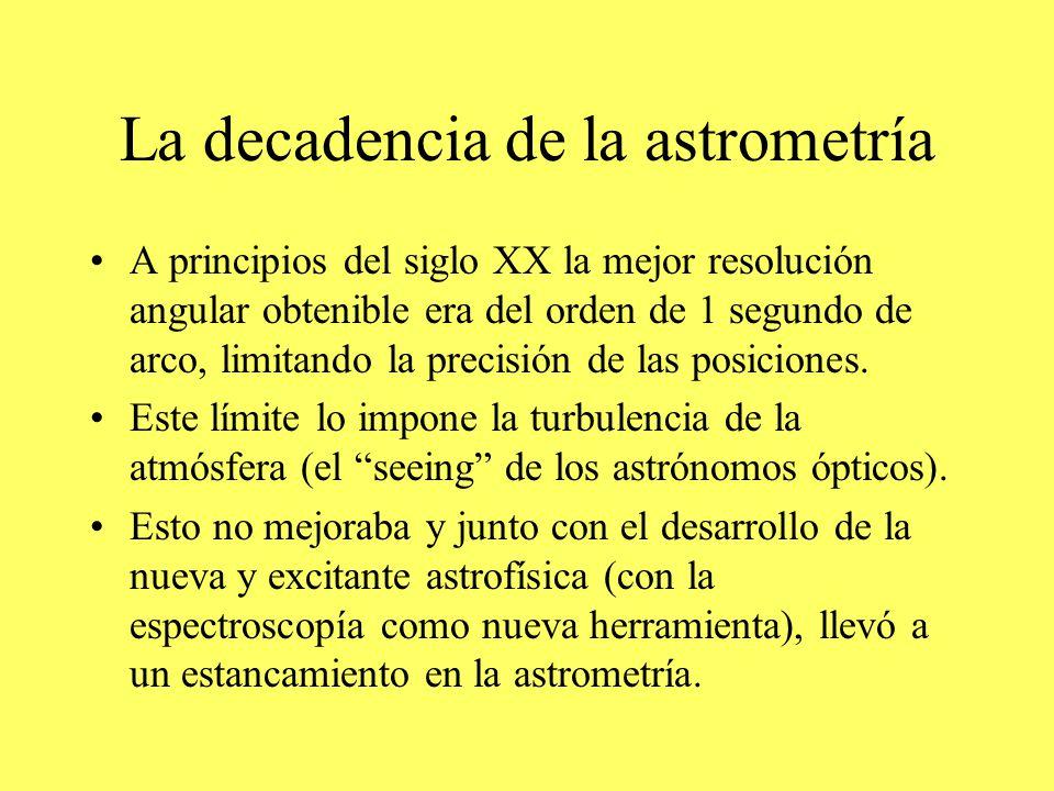 La decadencia de la astrometría A principios del siglo XX la mejor resolución angular obtenible era del orden de 1 segundo de arco, limitando la precisión de las posiciones.