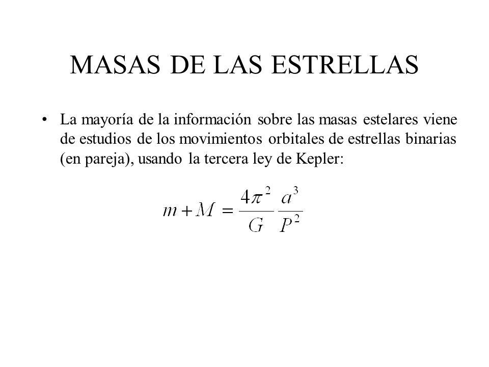 MASAS DE LAS ESTRELLAS La mayoría de la información sobre las masas estelares viene de estudios de los movimientos orbitales de estrellas binarias (en pareja), usando la tercera ley de Kepler: