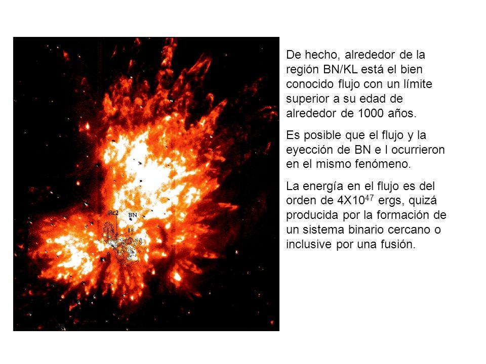 De hecho, alrededor de la región BN/KL está el bien conocido flujo con un límite superior a su edad de alrededor de 1000 años.
