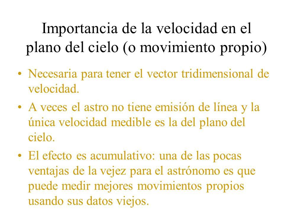 Importancia de la velocidad en el plano del cielo (o movimiento propio) Necesaria para tener el vector tridimensional de velocidad.