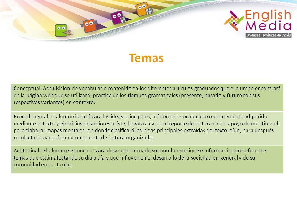 Temas Conceptual: Adquisición de vocabulario contenido en los diferentes artículos graduados que el alumno encontrará en la página web que se utilizar